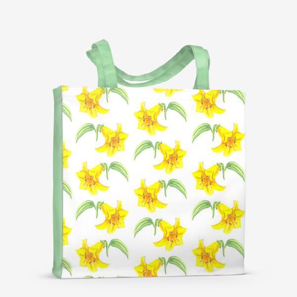Сумка-шоппер «паттерн желтые лилии акварель цветы»