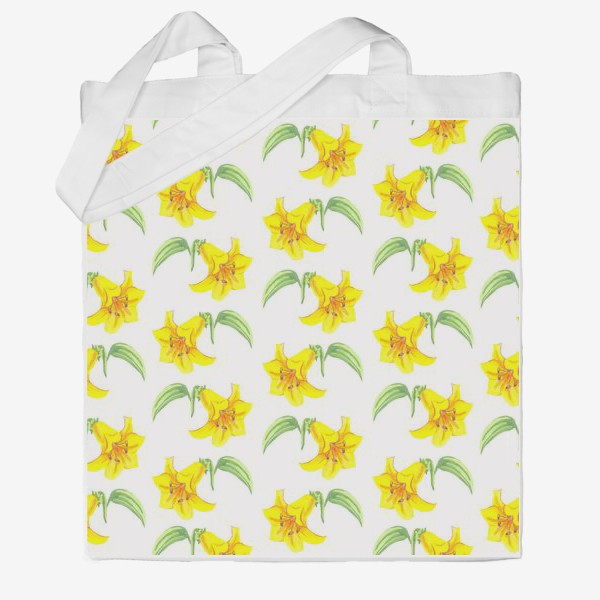 Сумка хб «паттерн желтые лилии акварель цветы»