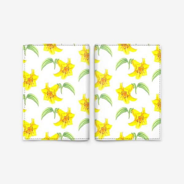 Обложка для паспорта «паттерн желтые лилии акварель цветы»