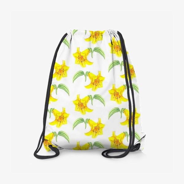 Рюкзак «паттерн желтые лилии акварель цветы»