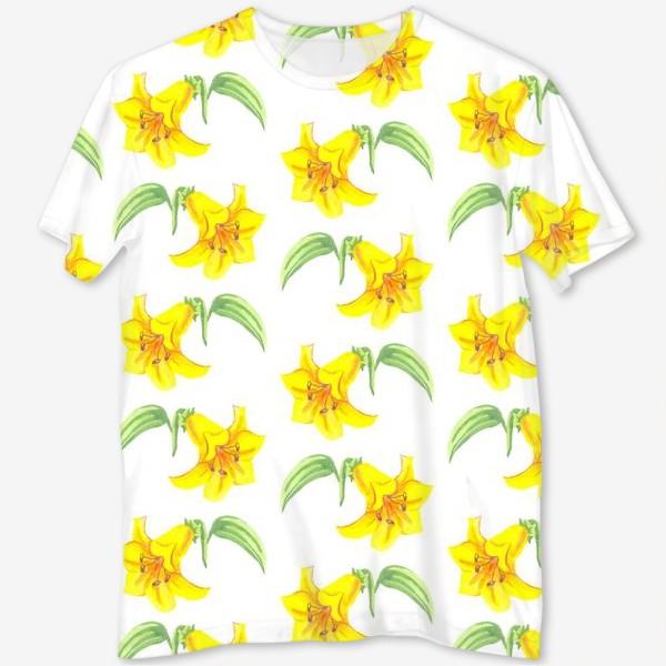 Футболка с полной запечаткой «паттерн желтые лилии акварель цветы»
