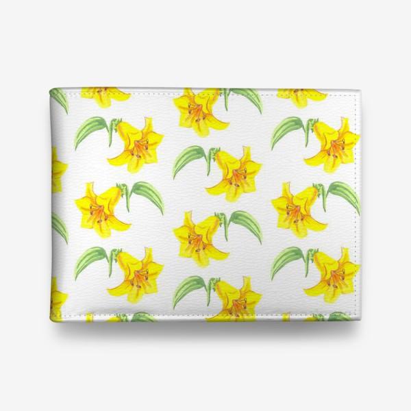 Кошелек «паттерн желтые лилии акварель цветы»