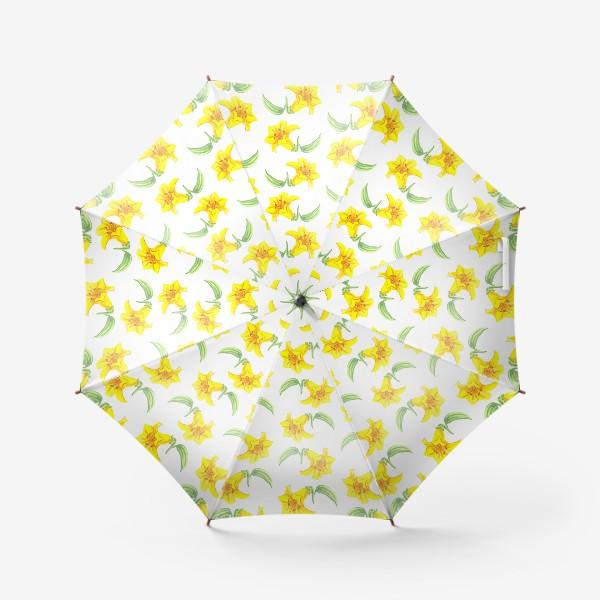 Зонт «паттерн желтые лилии акварель цветы»