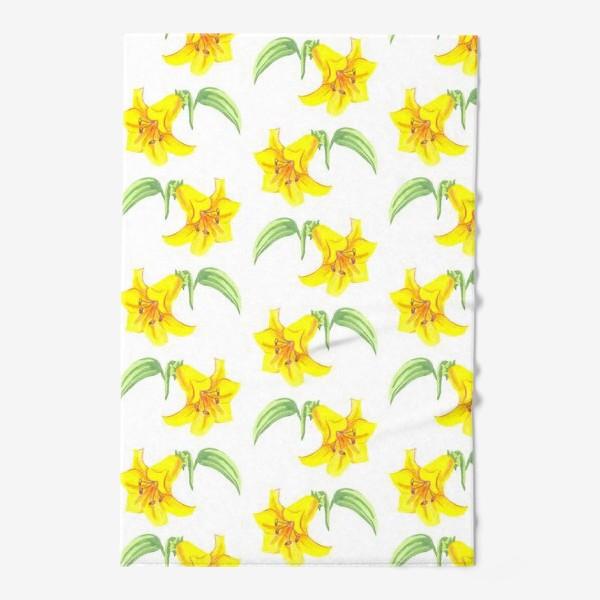 Полотенце «паттерн желтые лилии акварель цветы»