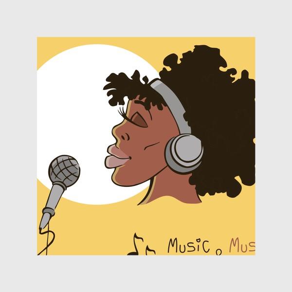Шторы «афроамериканка девушка микрофон и наушники на фоне солнца: музыка»