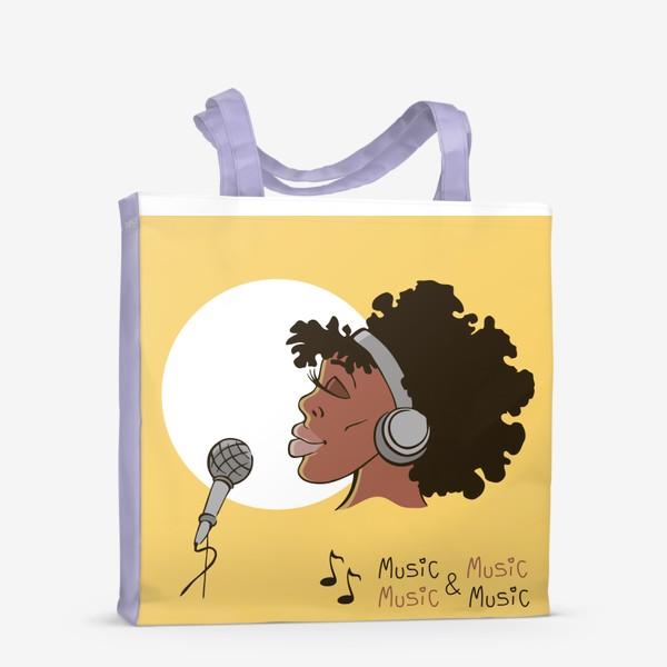 Сумка-шоппер «афроамериканка девушка микрофон и наушники на фоне солнца: музыка»