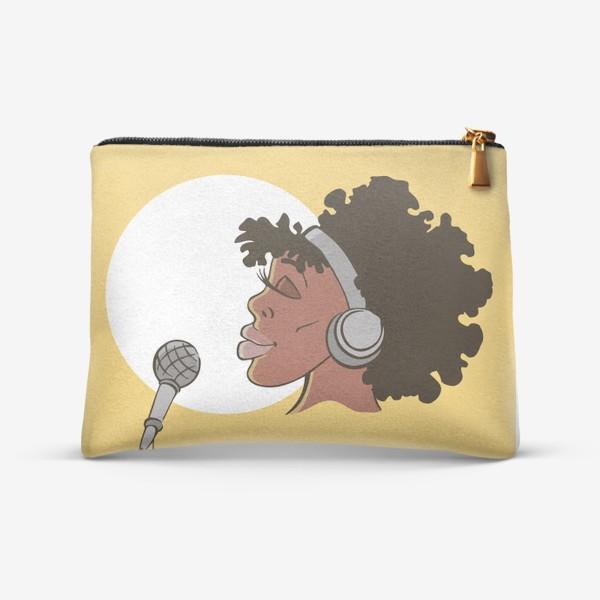 Косметичка «афроамериканка девушка микрофон и наушники на фоне солнца: музыка»