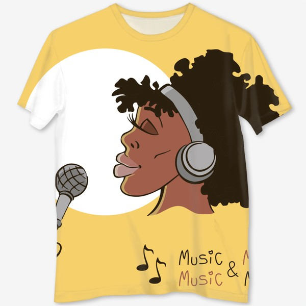 Футболка с полной запечаткой «афроамериканка девушка микрофон и наушники на фоне солнца: музыка»