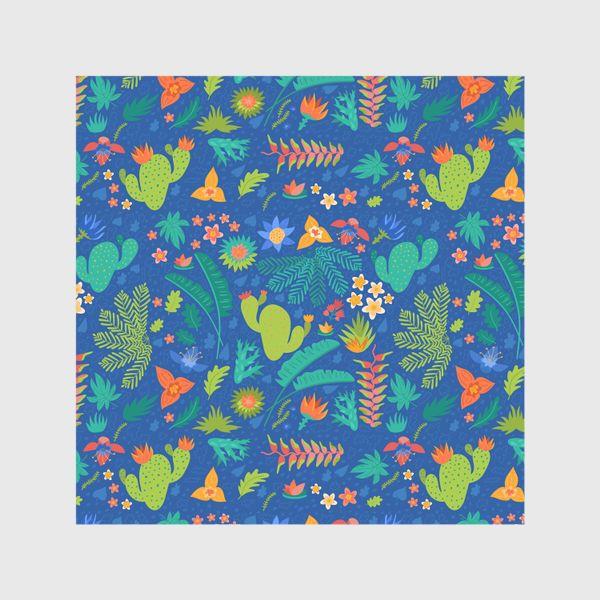 Шторы «Ботанический принт на синем»