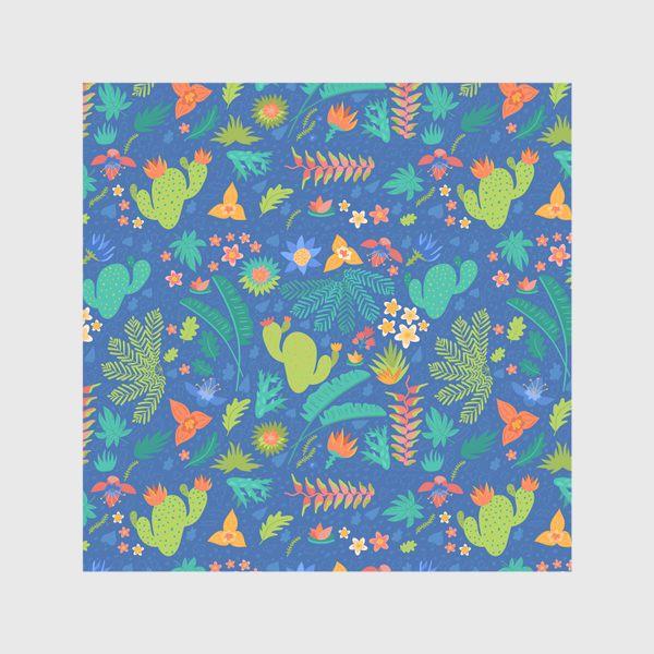 Скатерть «Ботанический принт на синем»