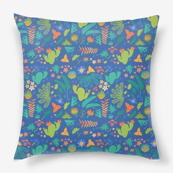 Подушка «Ботанический принт на синем»