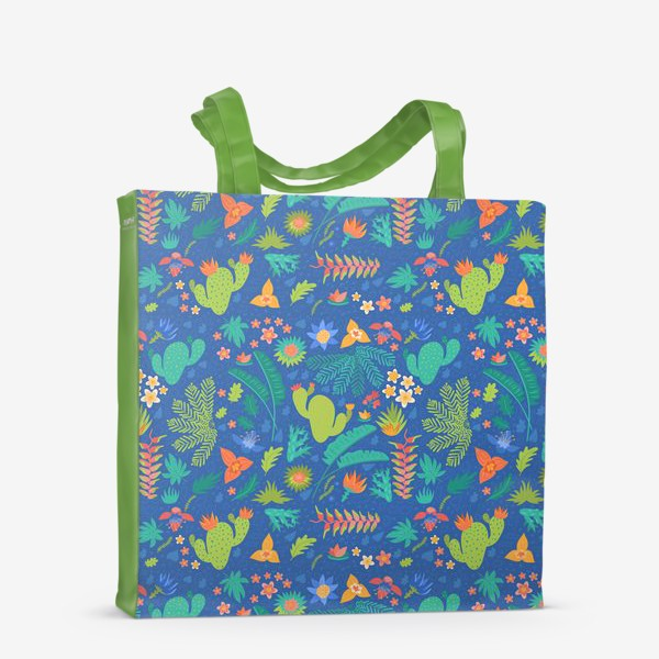 Сумка-шоппер «Ботанический принт на синем»