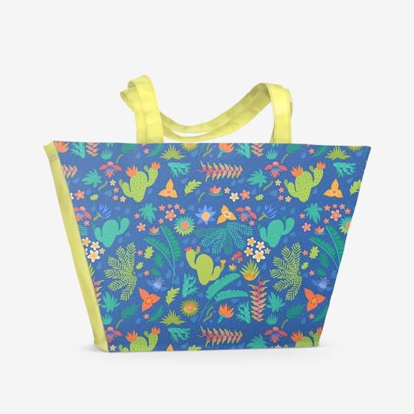 Пляжная сумка «Ботанический принт на синем»