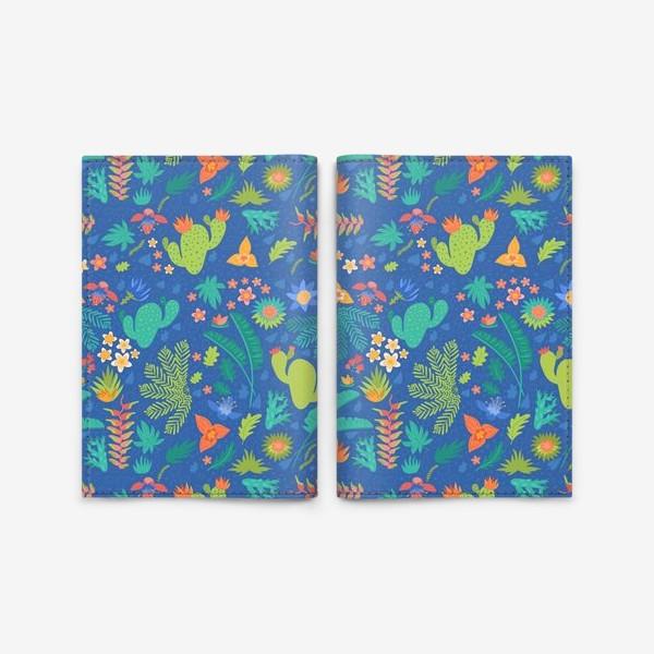 Обложка для паспорта «Ботанический принт на синем»