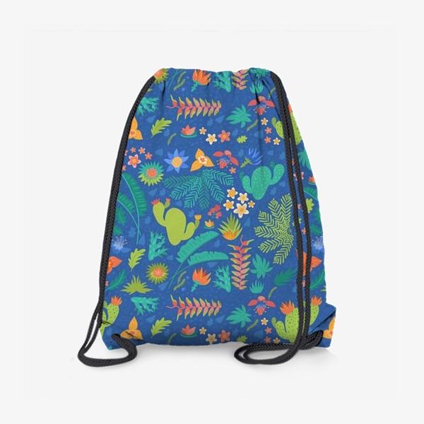 Рюкзак «Ботанический принт на синем»
