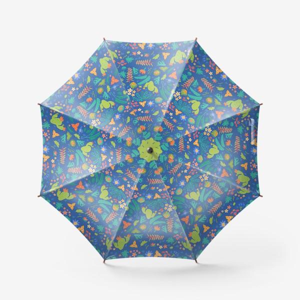 Зонт «Ботанический принт на синем»