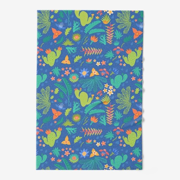 Полотенце «Ботанический принт на синем»