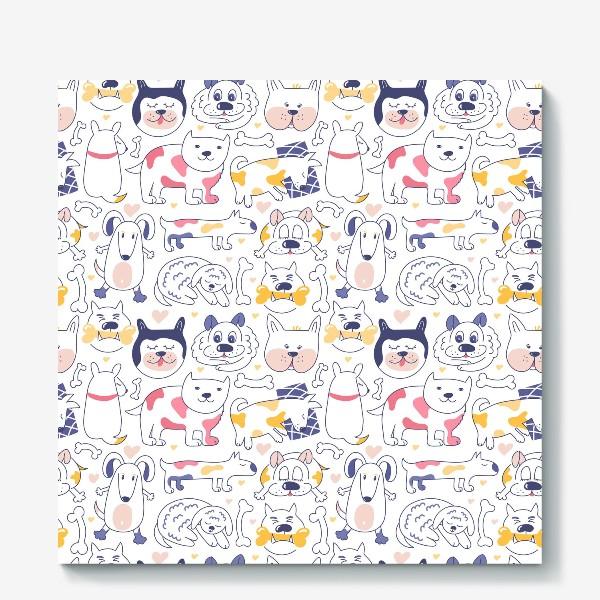 Холст «Собаки line art»
