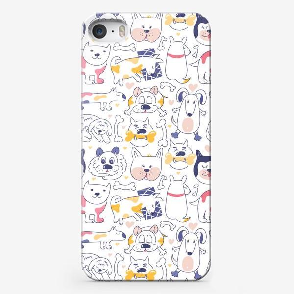 Чехол iPhone «Собаки line art»