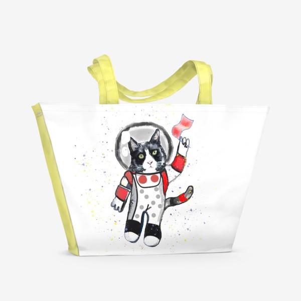 Пляжная сумка «Кот в космосе»