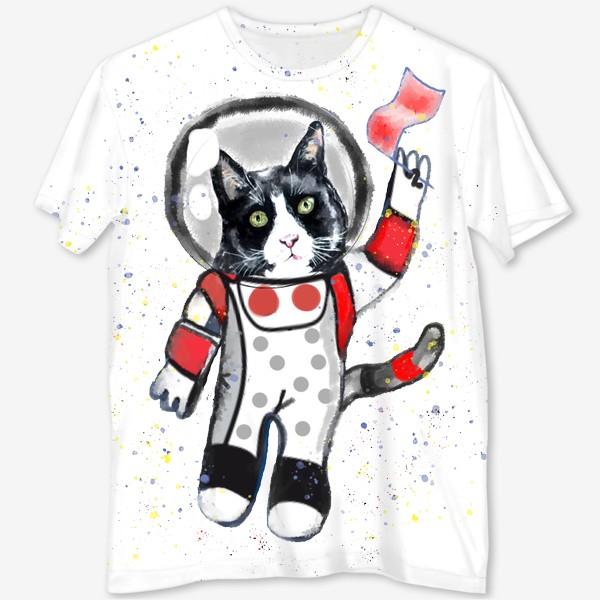 Футболка с полной запечаткой «Кот в космосе»