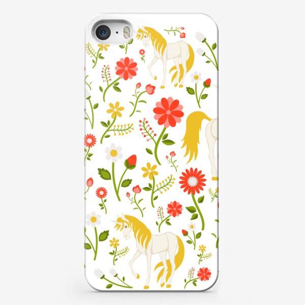 Чехол iPhone «Цветочный круговой узор с единорогами»