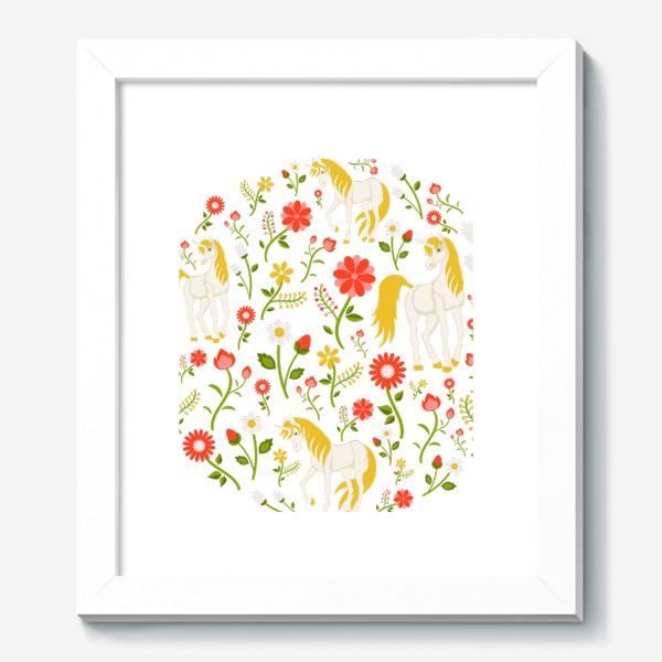 Картина «Цветочный круговой узор с единорогами»