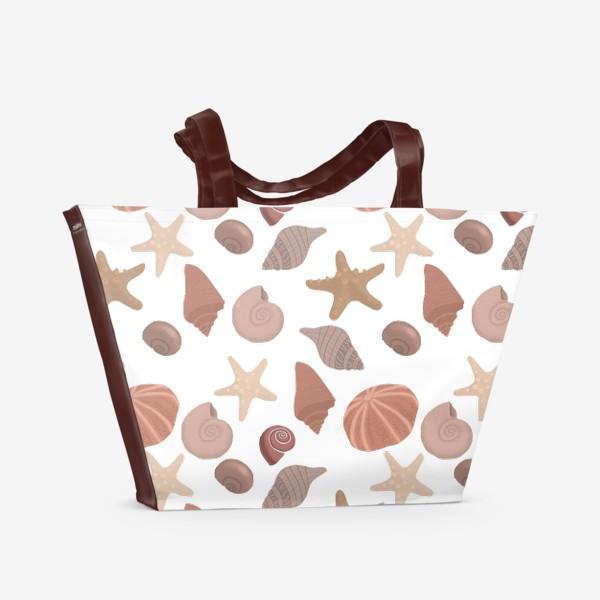 Пляжная сумка «Паттерн Ракушки,Море,Отпуск»