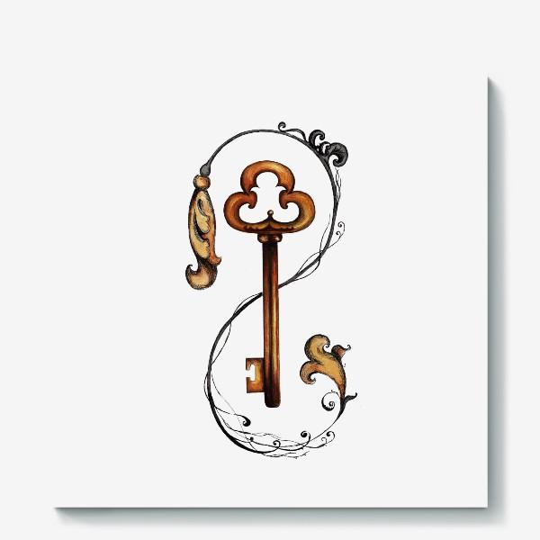 Холст «Ключ и викторианский орнамент. »