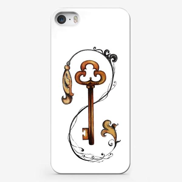 Чехол iPhone «Ключ и викторианский орнамент. »