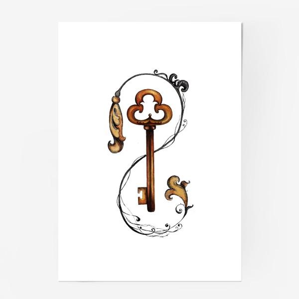 Постер «Ключ и викторианский орнамент. »