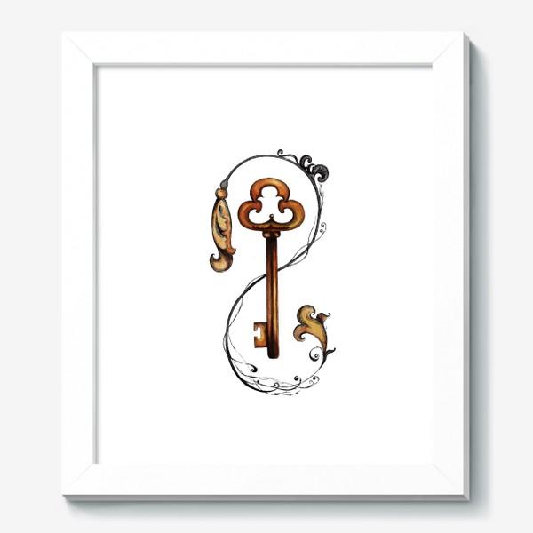 Картина «Ключ и викторианский орнамент. »
