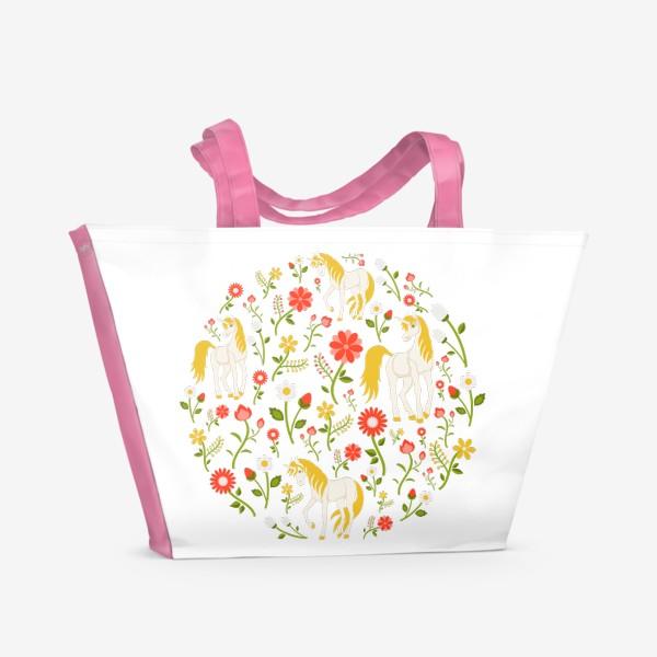 Пляжная сумка «Цветочный круговой узор с единорогами»