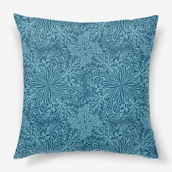Подушка «Голубые растения»