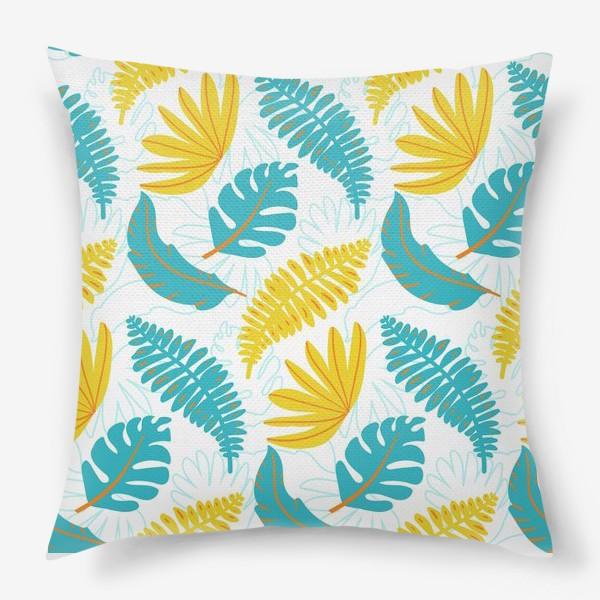 Подушка «Тропические листья на белом»