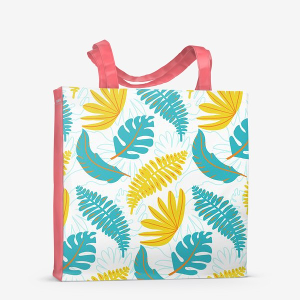 Сумка-шоппер «Тропические листья на белом»