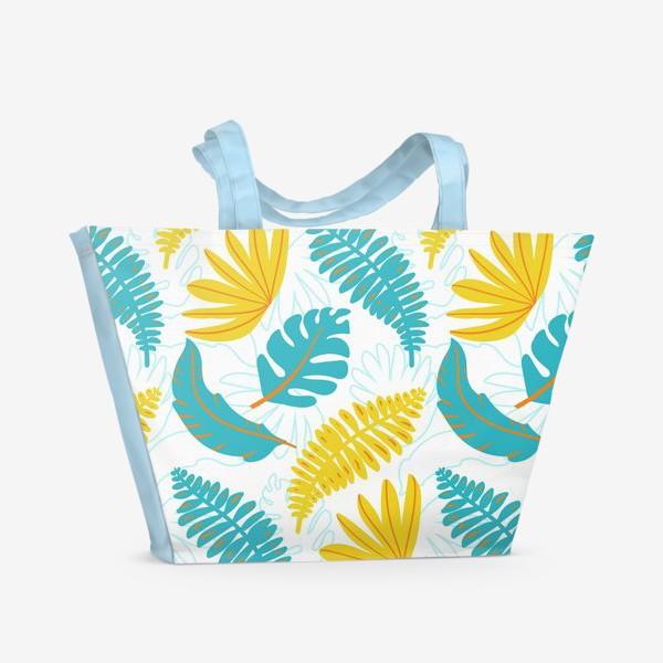 Пляжная сумка «Тропические листья на белом»