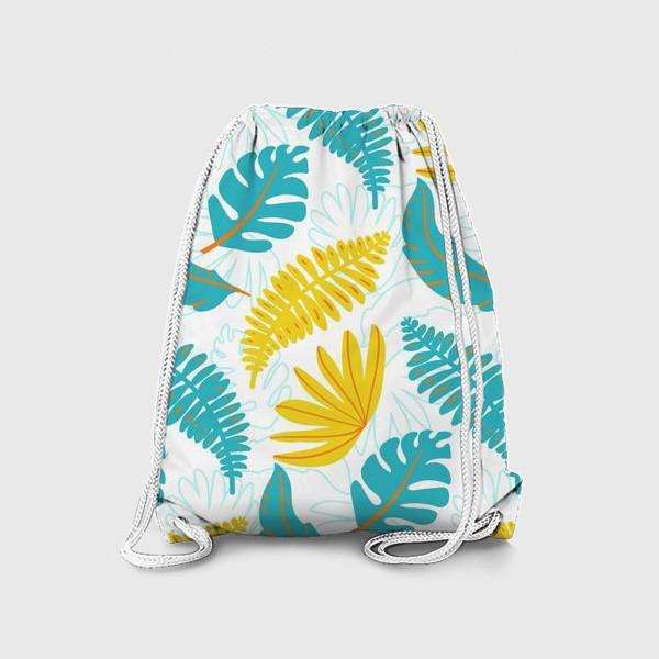 Рюкзак «Тропические листья на белом»