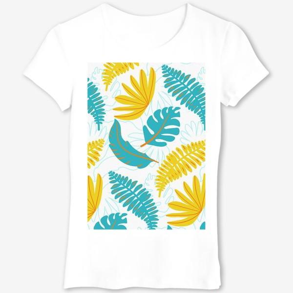 Футболка «Тропические листья на белом»