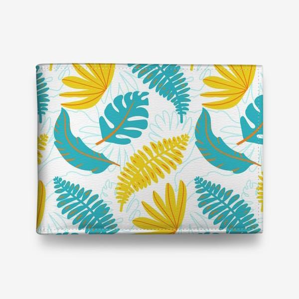 Кошелек «Тропические листья на белом»