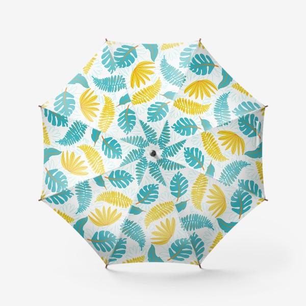 Зонт «Тропические листья на белом»
