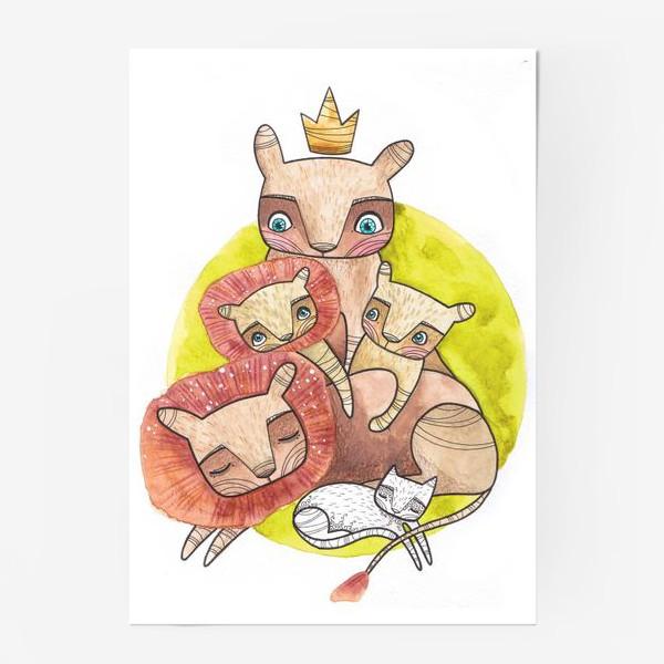 Постер «семья львов»