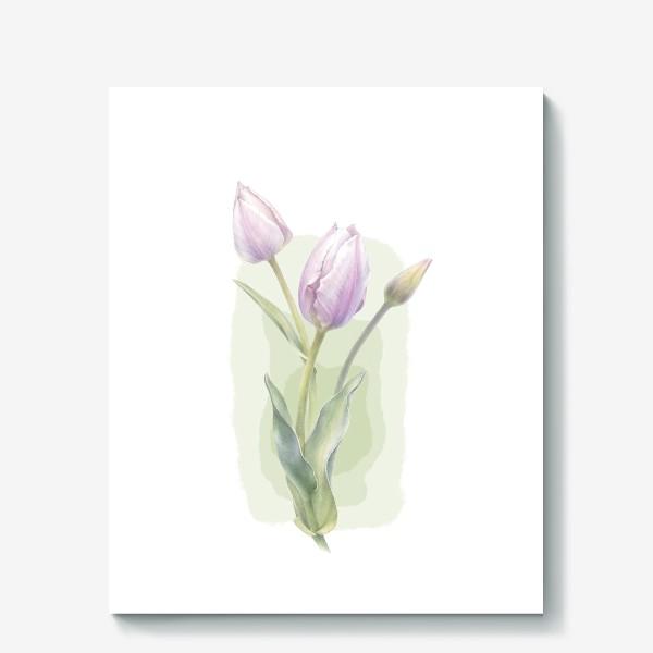 Холст «Светло-сиреневые тюльпаны Букет 1»