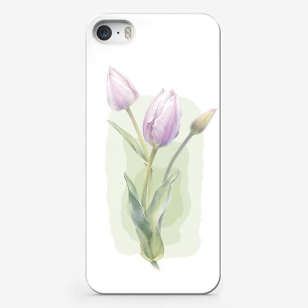 Чехол iPhone «Светло-сиреневые тюльпаны Букет 1»