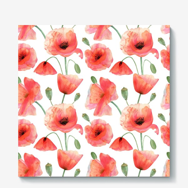 Холст «Seamless watercolor pattern pattern with poppy flower. Botanical illustration with red summer flowers, green bud»