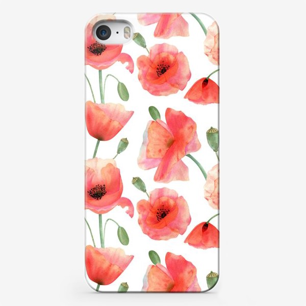 Чехол iPhone «Seamless watercolor pattern pattern with poppy flower. Botanical illustration with red summer flowers, green bud»