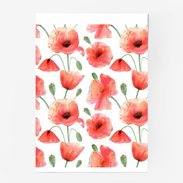 Постер «Seamless watercolor pattern pattern with poppy flower. Botanical illustration with red summer flowers, green bud»