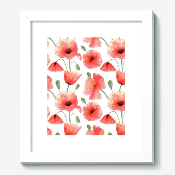 Картина «Seamless watercolor pattern pattern with poppy flower. Botanical illustration with red summer flowers, green bud»