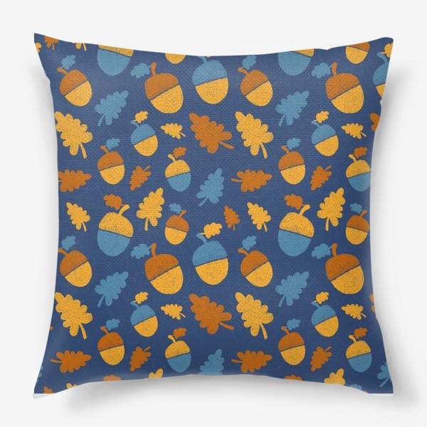 Подушка «Желуди на синем»