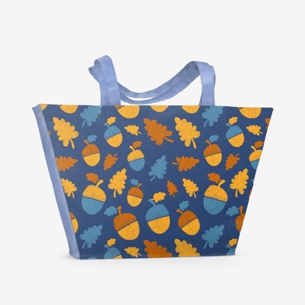 Пляжная сумка «Желуди на синем»